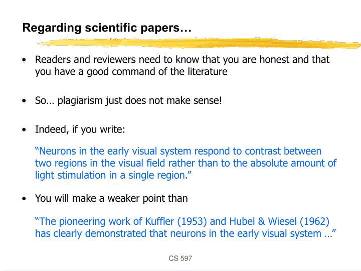 Regarding scientific papers…
