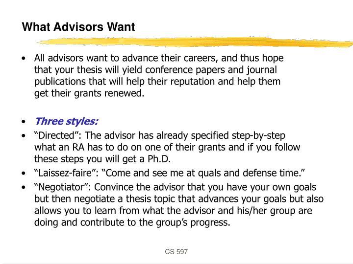 What Advisors Want