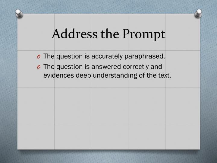 Address the Prompt