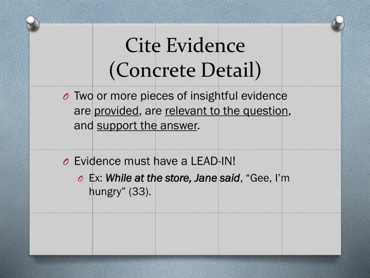 Cite Evidence