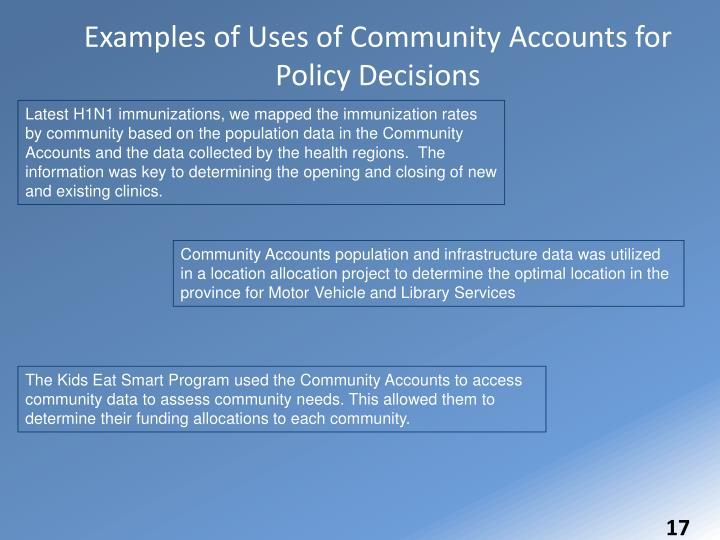 Examples of Uses of Community Accounts for Policy Decisions