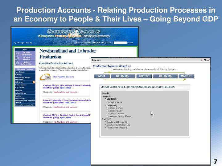 Production Accounts - Relating Production Processes in an Economy to People & Their Lives – Going Beyond GDP