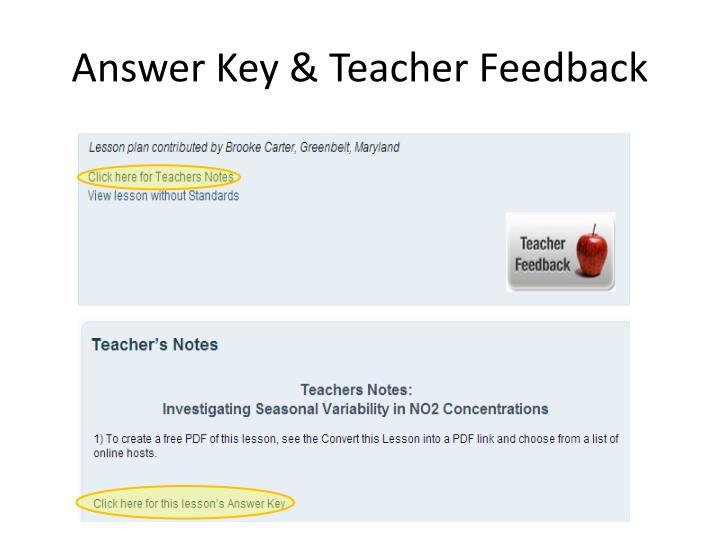 Answer Key & Teacher Feedback