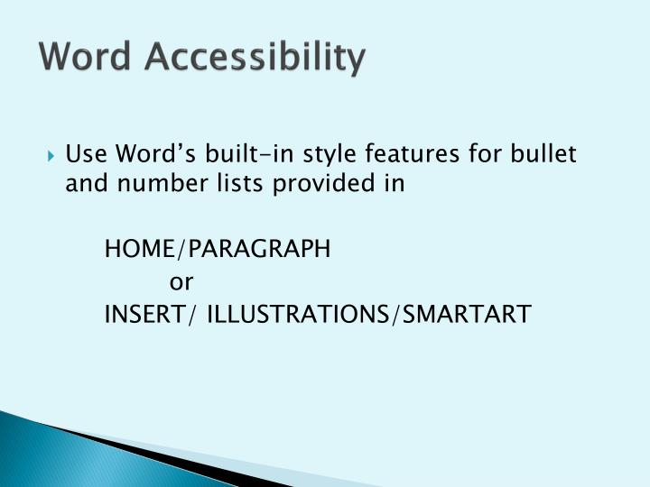 Word Accessibility