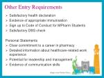 other entry requirements