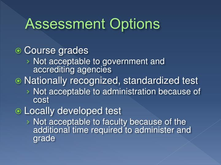 Assessment Options