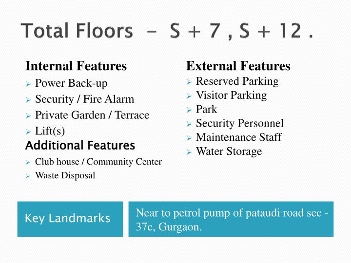 Total Floors  -  S + 7 , S + 12