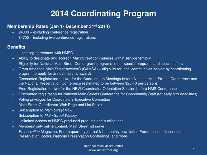 2014 Coordinating Program