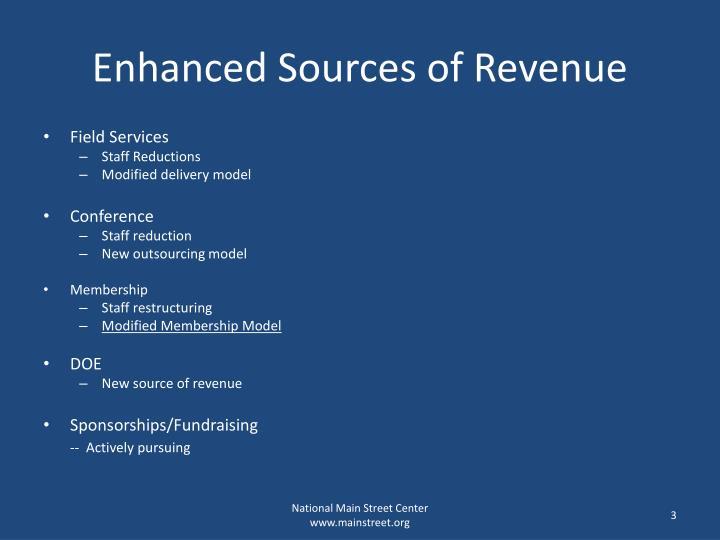 Enhanced Sources of Revenue