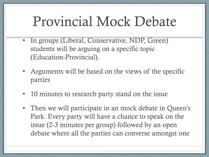 Provincial Mock Debate