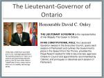 the lieutenant governor of ontario