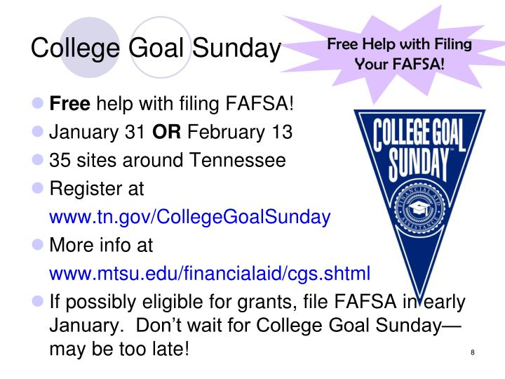 College Goal Sunday
