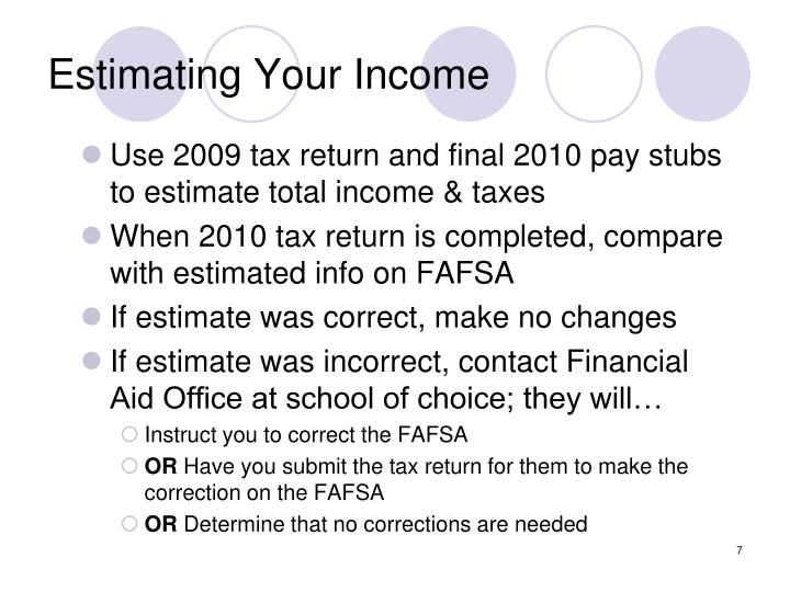 Estimating Your Income