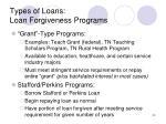 types of loans loan forgiveness programs