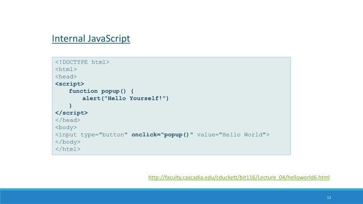 Internal JavaScript