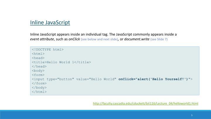 Inline JavaScript