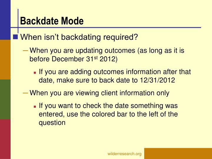 Backdate Mode