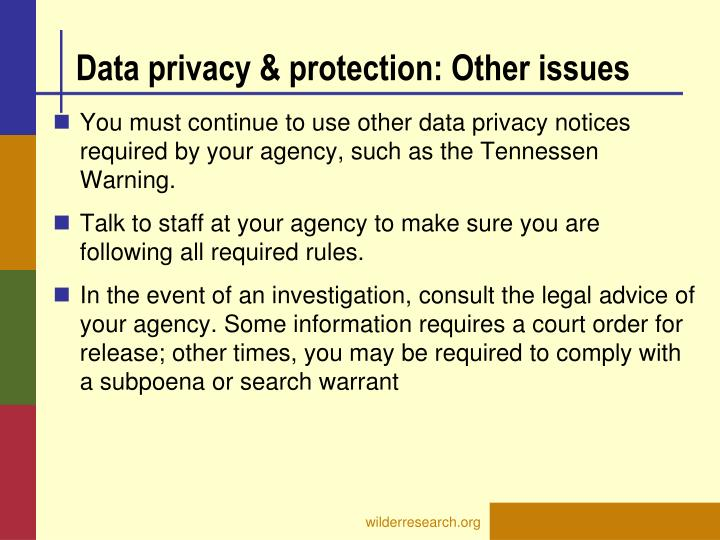 Data privacy & protection: Other issues