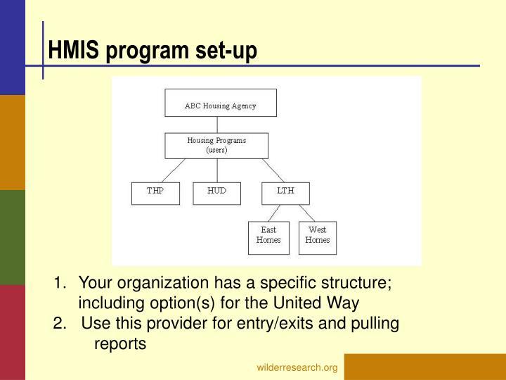 HMIS program set-up