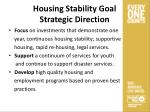 housing stability goal strategic direction