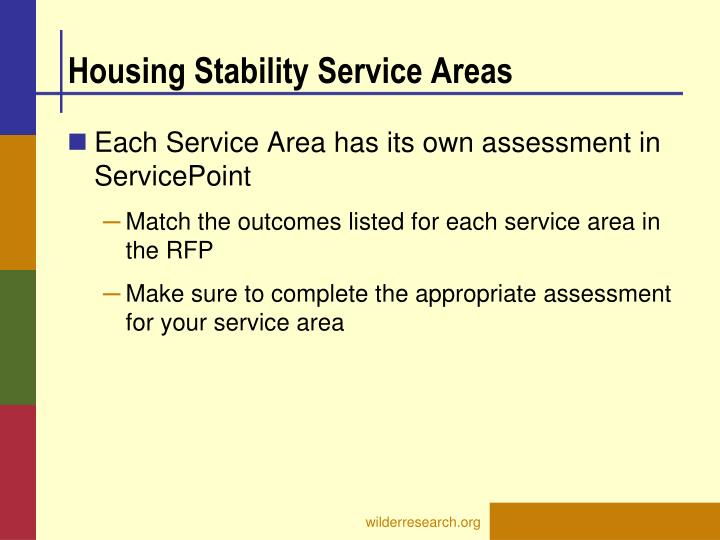 Housing Stability Service Areas