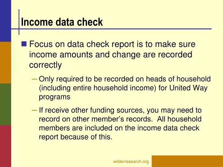 Income data check