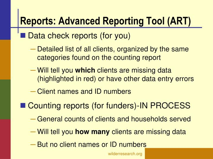 Reports: Advanced Reporting Tool (ART)