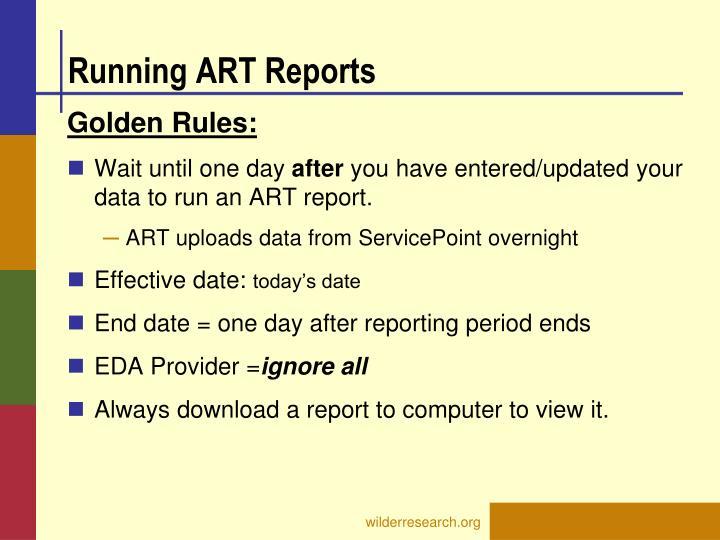 Running ART Reports