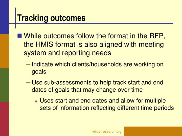 Tracking outcomes