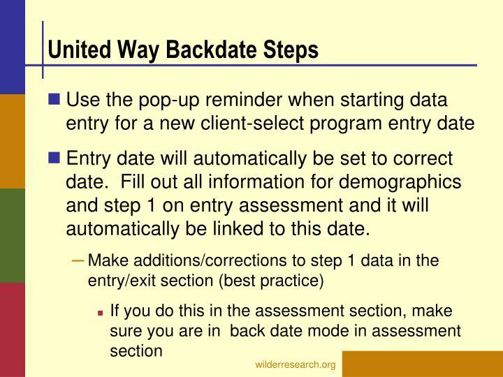 United Way Backdate Steps