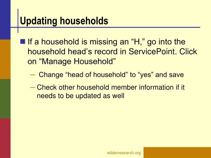 Updating households