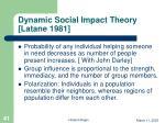 dynamic social impact theory latane 1981