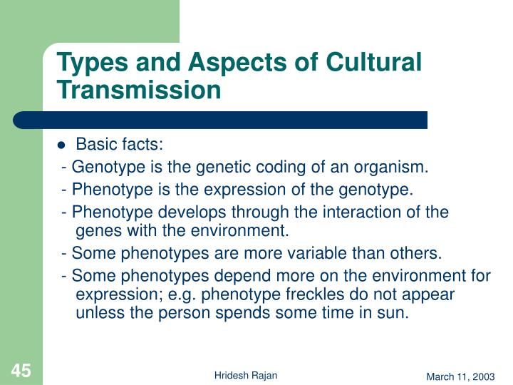 Types and Aspects of Cultural Transmission
