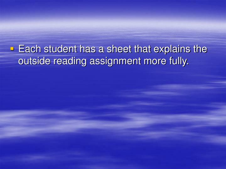 Each student has a sheet that explains the outside reading assignment more fully.