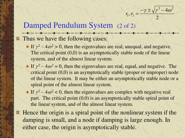 Damped Pendulum System