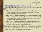 damped pendulum system 2 of 2