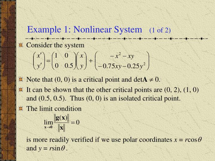 Example 1: Nonlinear System
