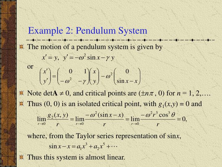 Example 2: Pendulum System