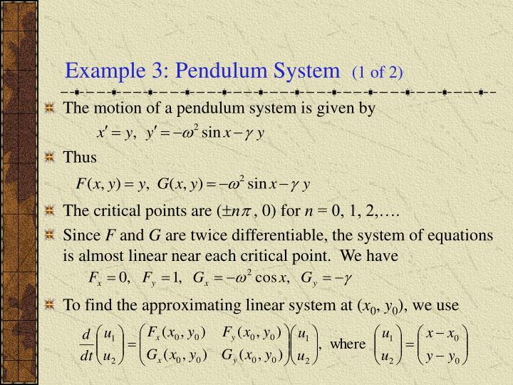 Example 3: Pendulum System