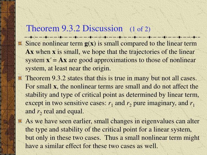 Theorem 9.3.2 Discussion