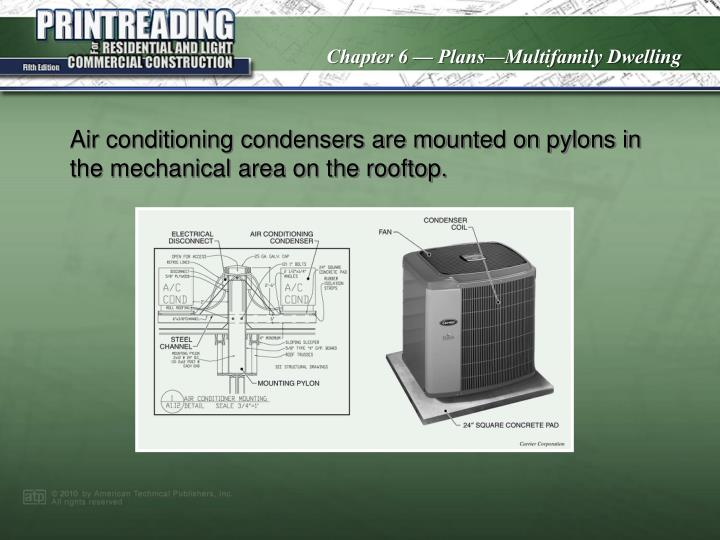 Air conditioning condensers are mounted on pylons in the mechanical area on the rooftop.