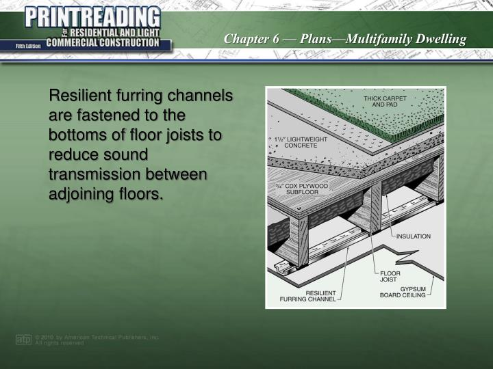 Resilient furring channels are fastened to the bottoms of floor joists to reduce sound transmission between adjoining floors.