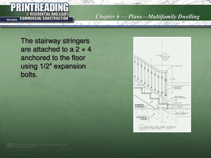 The stairway stringers are attached to a 2 × 4 anchored to the floor using 1/2″ expansion bolts.