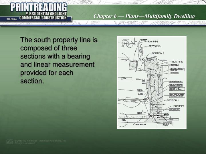 The south property line is composed of three sections with a bearing and linear measurement provided for each section.