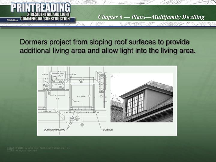 Dormers project from sloping roof surfaces to provide additional living area and allow light into the living area.