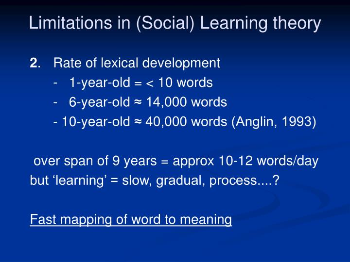 Limitations in (Social) Learning theory