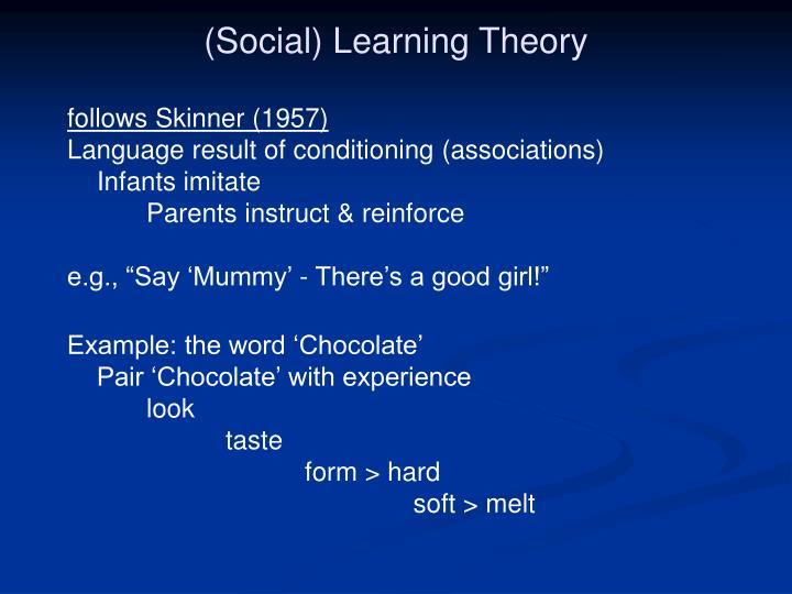 (Social) Learning Theory