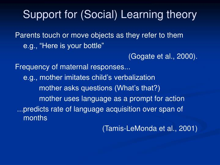 Support for (Social) Learning theory