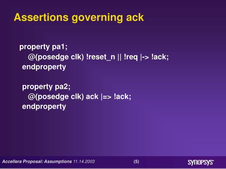 Assertions governing ack
