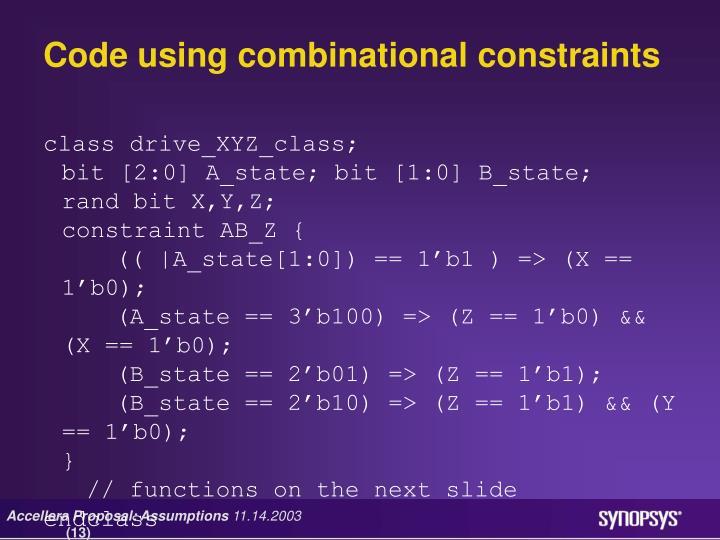 Code using combinational constraints